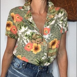🌼VTG Hawaiian palmetto button down shirt